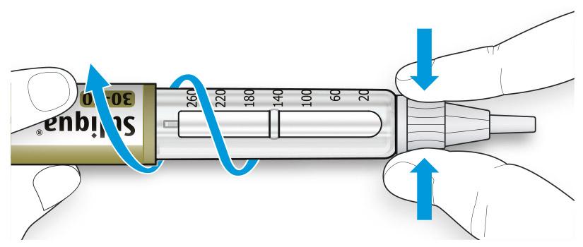Bilden visar hur du fattar tag om och klämmer ihop den bredaste delen av det yttre nålskyddet
