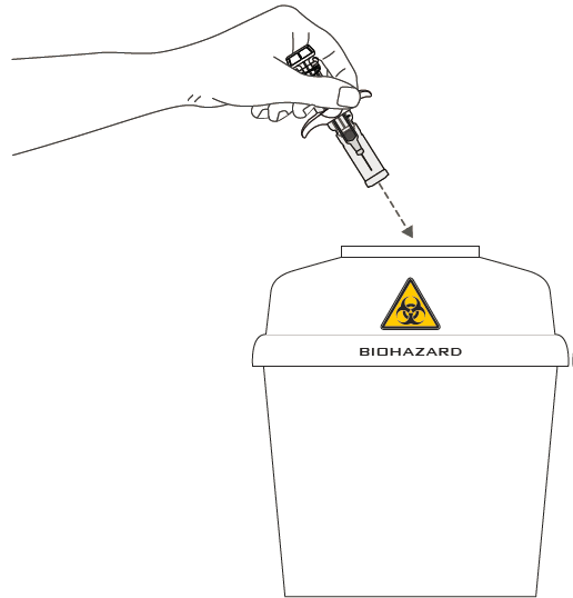 Bilden beskriver hur sprutan kasseras i behållare för biologiskt riskavfall.