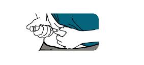 Ta ett försiktigt tag om huden på låret eller magen och för kanylen rakt in i huden.