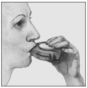 Visar hur läkemedlet inhaleras