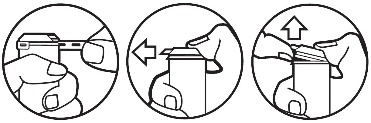 Förpackningen öppnas i tre steg