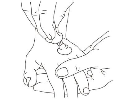 1. Tryck ut en klick kräm på det ställe som ska bedövas