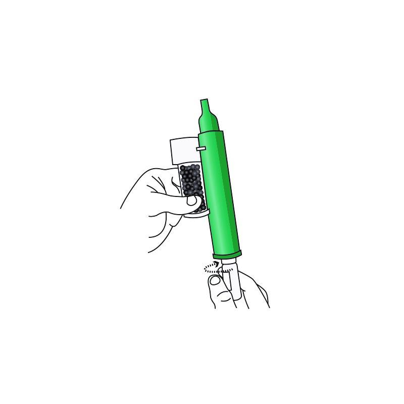Lossa locket på flaskan med hjälp av basen på inhalatorn
