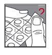 Ta bort en ruta av blisterförpackningen genom att dra längs den perforerade linjen.