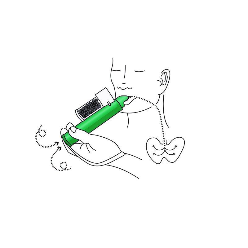 Patienten andas in och ut genom munstycket på inhalatorn
