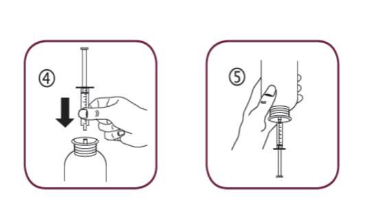 Bilden visar hur du placerar dossprutan i flaskans adapteröppning och sedan vänder flaskan upp och ned