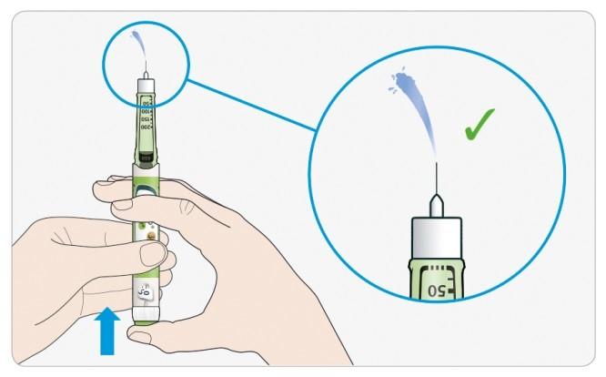 Tryck in injektionsknappen helt