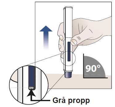 c) Kontrollera att den blå kolven har fyllt fönstret och ta bort den förfyllda injektionspennan från huden.