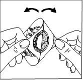 Dra isär de två delarna så att plåstret separeras från skyddspappret.