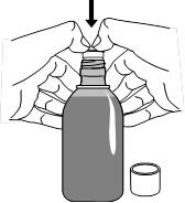 Montering av intrycksadaptern i ny flaska hjälpmedel