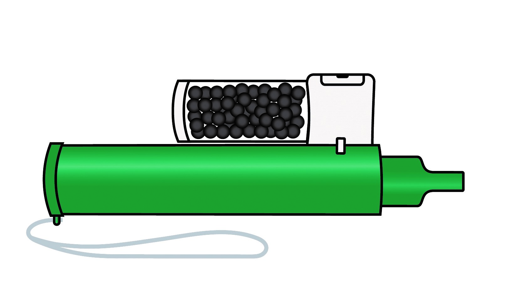 Kontrollera att behållaren med aktivt kol är monterad på inhalatorn