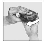 Bilden visar hur man stänger inhalatorn