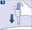 För in injektionsnålen i huden