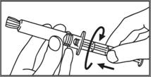 3. Skruva in kolven medsols i sprutan.