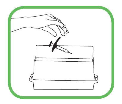 Efter injektion ska den använda sprutan kastas i en särskild behållare anvisad av läkare, sköterska eller apotekspersonal