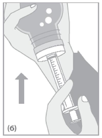 Om några bubblor förekommer i doseringssprutan, håll flaskan upp och ned och tryck in kolven något och dra tillbaka den igen.