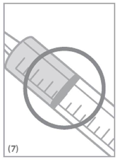 Tryck in kolven långsamt till märket som motsvarar den mängd i milliliter (ml) som din läkare ordinerat