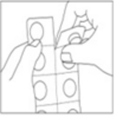 Bilden beskriver hur man separerar en blistercell från remsan vid perforeringen