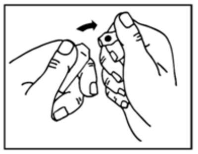 Bilden visar hur man bryter ampullen