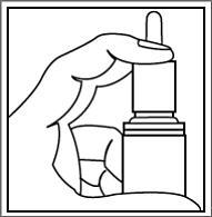 Bilden visar att man skakar flaskan försiktigt och tar av plastskyddet