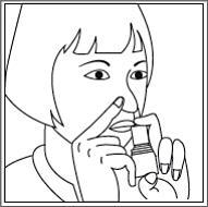 Bilden visar att man upprepar föregående steg för den andra näsborren