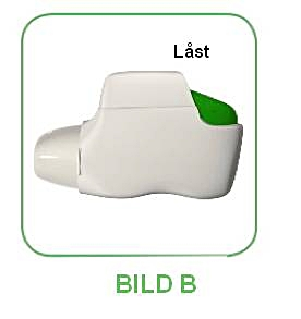 När den sista dosen förberetts för inhalation återgår den gröna knappen inte till sitt fulla övre läge, utan låses i ett mittenläge.