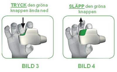 Tryck den gröna knappen ända ned och släpp