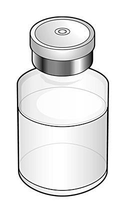 En injektionsflaska med pulver