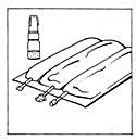 Bilden beskriver hur påsen ligger på en bänk.