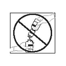 Bilden visar att vattenflaskan inte ska hållas upp och ner