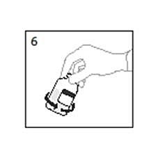 Bilden beskriver hur flaskan ska roteras för att blanda innehållet