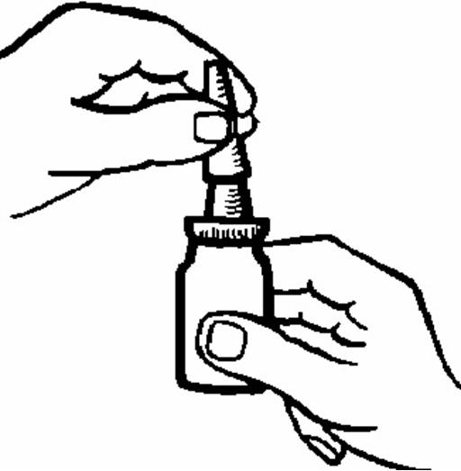 Bilden beskriver två händer som håller flaskan upprätt.