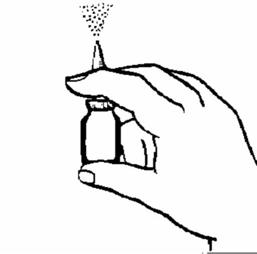 Bilden visar en hand som håller i flaskan och sprutar en duschstråle rakt upp.