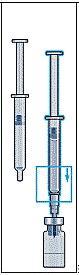 sätt fast sprutan på den nål som sitter kvar i injektionsflaskan