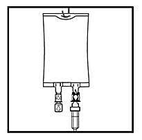 Häng påsen i upphängningshålet och påbörja infusionen.