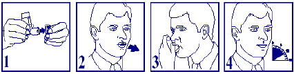 Bilden beskriver hur man använder inhalationssprayen