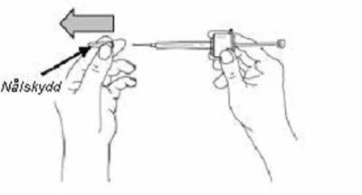 Bilden visar nålskydd som avlägsnas från sprutan