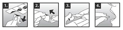 Schematisk bild över hur de munsönderfallande tabletterna ska tas ur förpackningen.