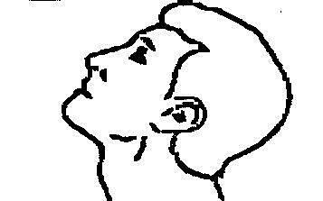 Bilden beskriver hur man ska böja huvudet bakåt.