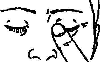 Bilden beskriver hur man ska trycka en fingertopp mot ögats inre vrå i 1-2 minuter.