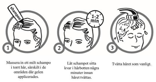 Bilden visar hur hårtvätt kan göras efter behandling med Daivobet gel.