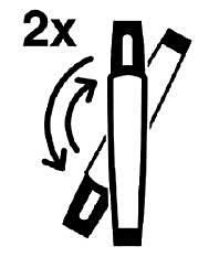 Vänd försiktigt injektionspennan upp och ner 2 ganger
