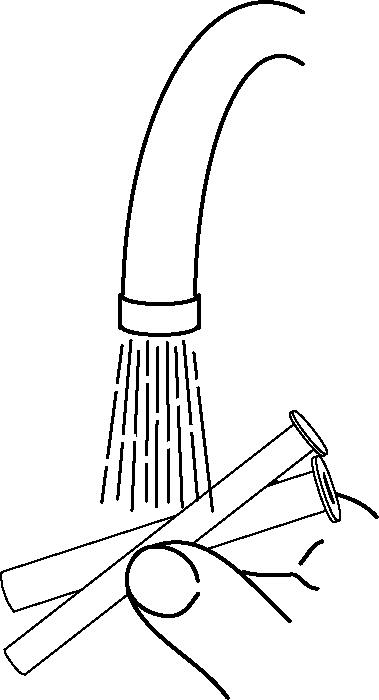 Bild över sköljning av sprutan