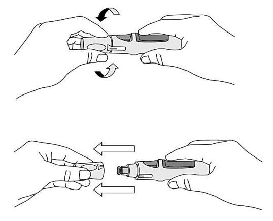 Figur 4 visar hur locket tas av pennan.