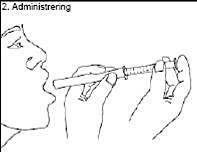 Håll sprutan i munnen och ta dosen genom att trycka ner kolven.