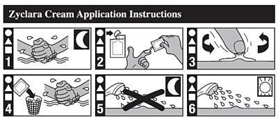 Instruktioner för applicering av Zyclara-kräm