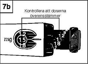 Kontrollera att den dos du drog upp och som anges på den svarta kolven motsvarar den dos som ställts in i fönstret.