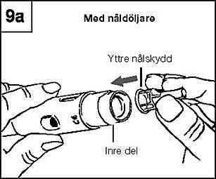 Skruva loss nålen med hjälp av nålskyddet och lägg den i en lämplig behållare för använda nålar.