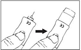 Om nåldöljare används ska du trycka på den svarta knappen för att skjuta ut den inre delen.