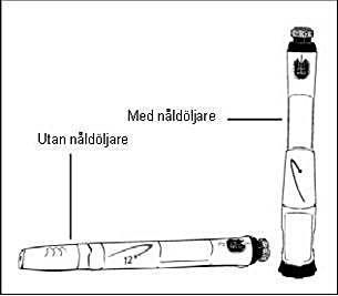 Sätt på locket på nåldöljaren eller den vita pennhatten på pennan och förvara den i kylskåp.